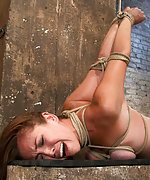 Naked, tightly roped, caned and vibed
