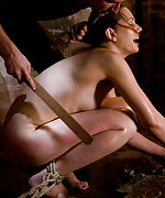 Hot slave bitch roped, fixed and trained to fuck
