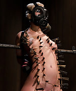 Fixed, gasmasked, tortured with pegs and dildoed