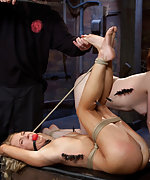 Two sluts roped, clamped and fucked