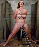 Busty girl roped, pegged, caned and fucked