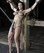 Busty brunette roped, suspended and vibed