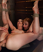 Two slavegirls fisted and ass fuck in bondage