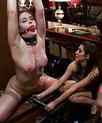 Covered in hot wax, flogged, made to cum and cattleprodded