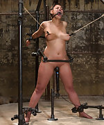 Bound standing strappado, pegged, forced to cum
