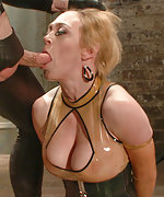 Latex dominatrix gets bound and ass fucked