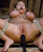 Busty beauty roped wide open and ass fucked