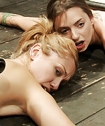 Two bondage sluts cuffed, caned, vibed, strapon fucked