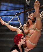 Five bound girls get lesbian slave training