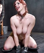 Bella strapped, tied to the frame, tortured with clamps
