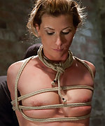 Sexy fitness model is bound and strapon fucked