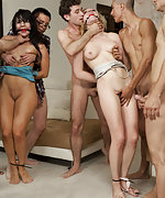 Two hotties bound and fucked by seven dudes