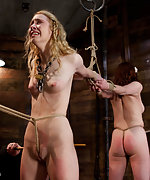 Two slavegirls roped, caned, trained and vibed