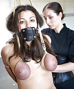 Busty brunette roped, stripped, spanked and trained