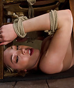 Bound in a humiliating ass up position, punished and made to anally cum