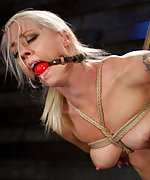 Naked, roped, ball-gagged and fucked