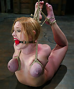 Roped, ball-gagged, suspended and hogtied